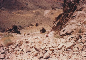 scree slope with Gene Mueller in red shirt