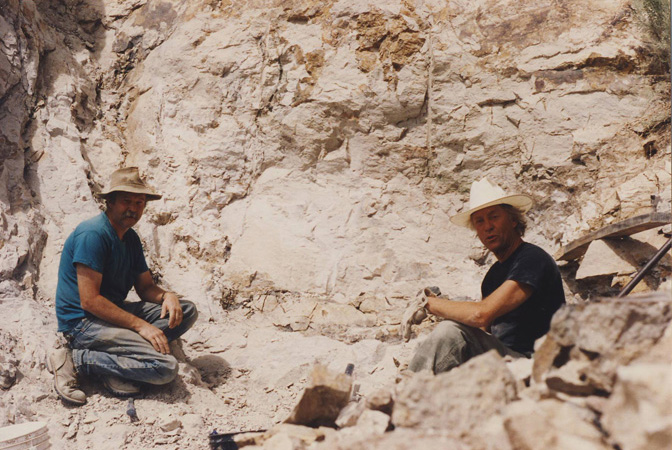 Gene Mueller and Thom Lane digging in Owyhee Canyon.