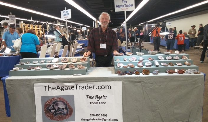 Thom Lane with The Agate Trader shop at the Denver Gem and Mineral Show 2016.