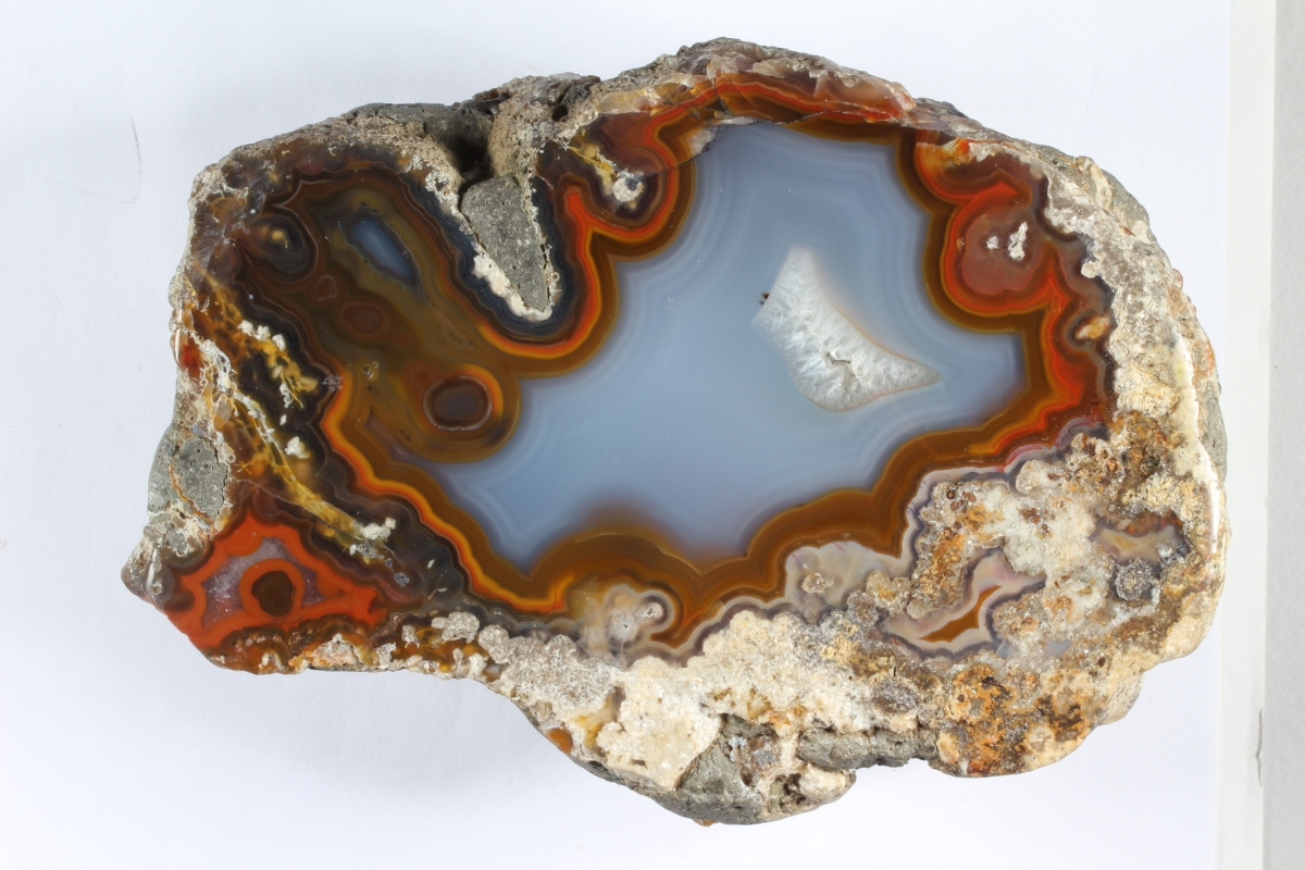 a rich red band surrounds a blue lake ibn the cener of this big agate
